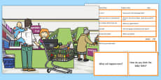 Supermarket Scene Blanks Level 3 Questions
