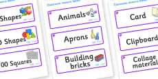 Amethyst Themed Editable Classroom Resource Labels