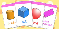 Corpuri geometrice - Cartonașe cu imagini și cuvinte