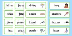Medial 'z' Word Cards