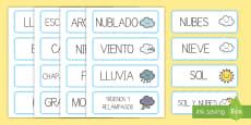 Tarjetas de vocabulario: El tiempo