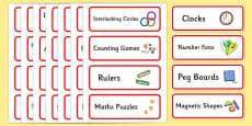 Editable Maths Area Resource Labels (Red)