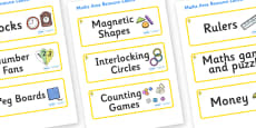 Daffodil Themed Editable Maths Area Resource Labels