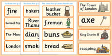 The Great Fire of London Word Cards