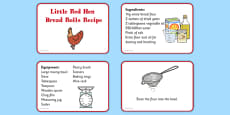 Little Red Hen Recipe Cards