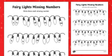 Christmas Fairy Light Missing Numbers Counting in 2s, 3s, 5s and 10s Activity Sheet