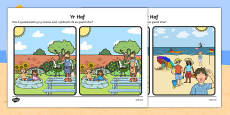 Summer Spot the Difference Activity Cymraeg