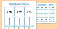 3 Times Table Multiplication Matching Puzzle