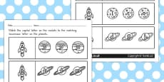 Space Themed Capital Letter Matching Activity Sheet (Australia)