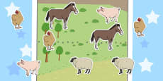 Farm Animals Fractions Cut and Stick Activity