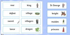 St George And The Dragon Story Word Cards