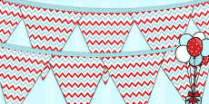 Zig Zag Birthday Party Pattern Bunting Red And Blue