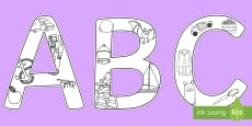 Editable Alphabet Colouring Display Lettering