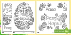 Happy Easter Mindfulness Colouring Sheets Welsh