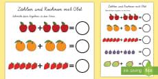 Zählen und Rechnen mit Obst Arbeitsblatt: Erstes Rechnen (Addieren)