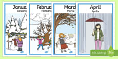 * NEW * Months Of The Year Seasons Posters English/Romanian