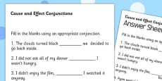 Cause and Effect Conjunctions Worksheet