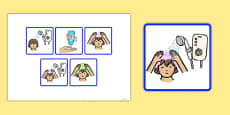 5 Step Sequencing Cards Washing Hair