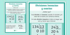 * NEW * Póster DIN A4: Divisiones inexactas y exactas