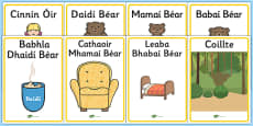 Goldilocks and The Three Bears Display Posters Gaeilge