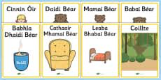 Cinnín Óir agus Na Trí Bhéar - Goldilocks and the Three Bears Irish Gaeilge Display Posters