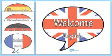 Mixed Language Welcome Speech Bubble Signs