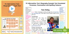 * NEW * Y6 Information Texts: Biography Model/Example Text