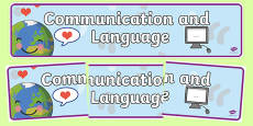 EYFS Learning Areas Communication and Languages Development Display Banner