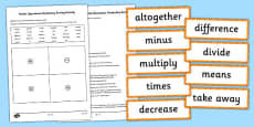 Maths Operations Vocabulary Sorting Activity and Pairs Game