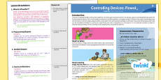 PlanIt - Computing Year 5 - Controlling Devices Flowol Planning Overview