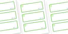 Green Themed Editable Drawer-Peg-Name Labels (Blank)