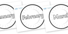 Months of the Year on Circles (Plain)