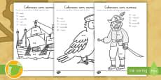 Ficha de actividad: Colorear con sumas - Piratas