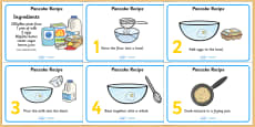 Pancake Recipe Sheets With Measurements