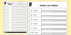 Addition up to 12 Number Line Worksheets