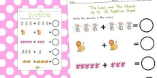 Australia - The Lion and the Mouse Up to 10 Addition Sheet