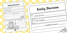 Emily Davison Significant Individual Writing Frame