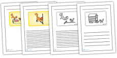 Black and White Lined Writing Frames to Support Teaching on Rosie's Walk