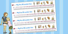 Number Lines 0-30 to Support Teaching on Dogger