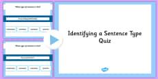 Identifying a Sentence Type SPaG Grammar PowerPoint Quiz