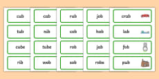 Final B Sound Word Cards