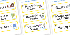 Bee Themed Editable Maths Area Resource Labels