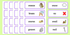 'sn' and 'n' Near Minimal Pair Word Cards