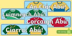 Irish Gaeilge Munster Counties Abú GAA Display Banners Gaeilge
