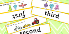 Fill In The Sentence Ordinal Numbers Time Concept Cards