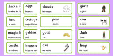 Jack and the Beanstalk Word Cards French Translation
