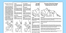 European Mountain Ranges Comprehension Activity English/Polish