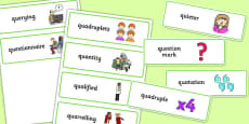 Three Syllable QU Word Cards