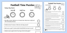 Football Themed Differentiated Time Activity Sheet Pack