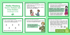 Year 6 Calculation Factors Multiples and Prime Numbers Maths Mastery Challenge Cards